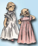 1950s Vintage Advance Sewing Pattern 6259 Little Girls Nightgown Size 8 26B
