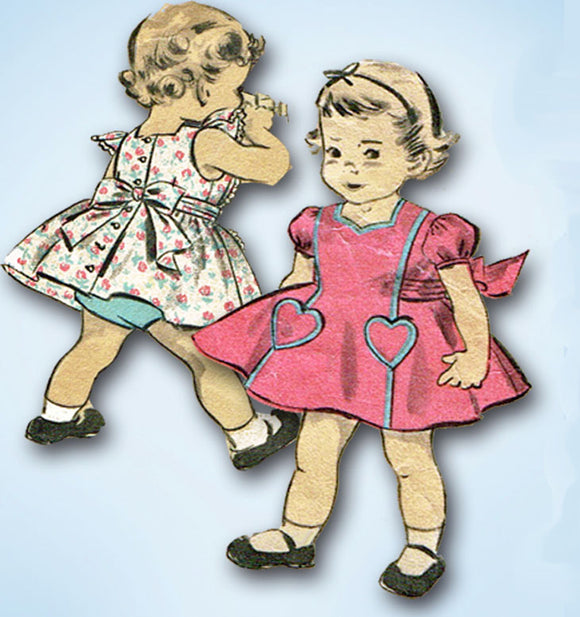 1950s Vintage Advance Sewing Pattern 6422 Darling Baby Dress & Panties Size 1 - Vintage4me2