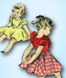 1950s Vintage Advance Sewing Pattern 6514 Toddler Girls Play Clothes Size 4 23B