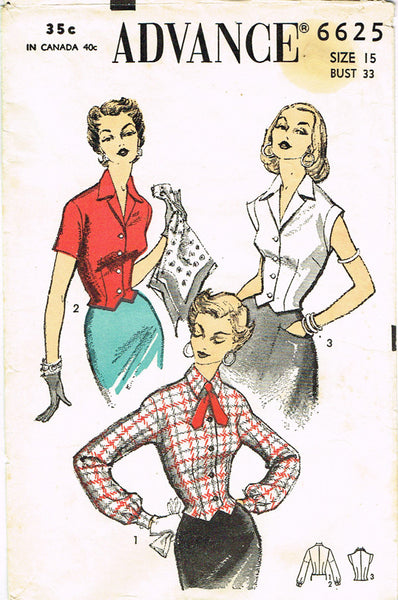 1950s Vintage Advance Sewing Pattern 6625 Misses Fitted Blouse Size 15 33 Bust