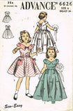 1950s Vintage Advance Sewing Pattern 6626 Easy Toddler Girls Party Dress Size 6