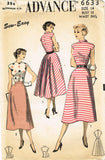1950s Vintage Advance Sewing Pattern 6633 Uncut Misses Easy Dress Size 14 32 B
