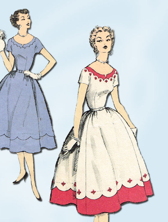 1950s Vintage Misses Cocktail Dress 1954 Advance Sewing Pattern 6649 Size 16