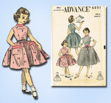 1950s Vintage Advance Sewing Pattern 6691 Uncut Toddler Girls Jumper Dress Sz 6