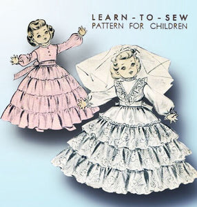 1950s Vintage Advance Sewing Pattern 6919 Learn to Sew 19 In Toni Doll Clothes