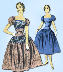1950s Vintage Advance Sewing Pattern 6966 Designer Misses Cocktail Dress 32B