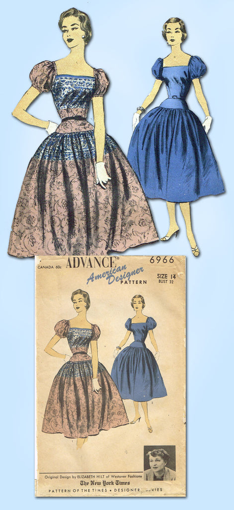 1950s Vintage Advance Sewing Pattern 6966 Designer Misses Cocktail ...