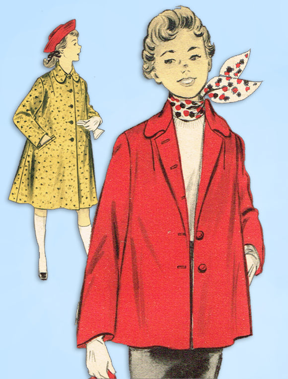1950s Vintage Advance Sewing Pattern 7035 Uncut Teen Girls Flared Coat Size 33 B