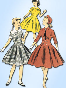 1950s Vintage Advance Sewing Pattern 7707 Toddler Girls Sunday Best Dress Size 6