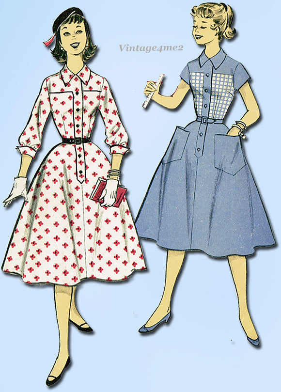 1950s Vintage Advance Sewing Pattern 7746 Uncut Teen Misses Dress Size 32 Bust