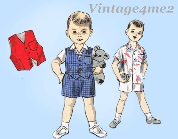 1960s Vintage Advance Sewing Pattern 7868 Baby Boys Shirt and Shorts Size 2 21B