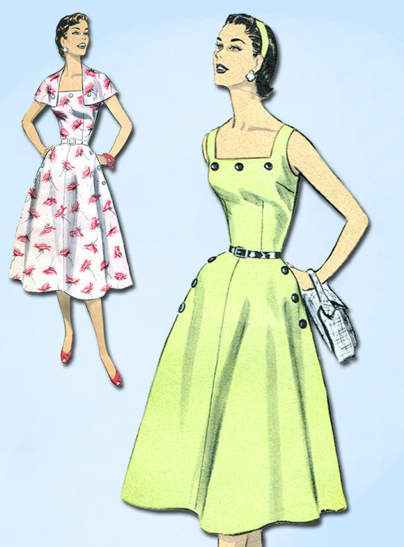 1950s Vintage Advance Sewing Pattern 7953 Misses Sun Dress & Capelet Size 12 30B