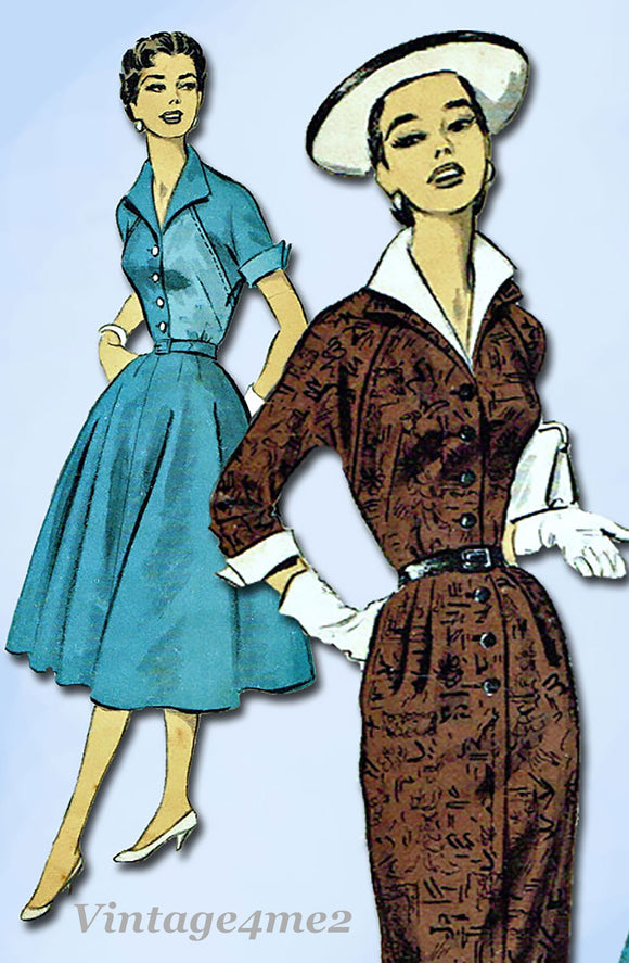 Advance 7955: 1950s Uncut Misses Street Dress Sz 32 Bust Vintage Sewing Pattern