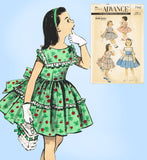 1950s Vintage Advance Sewing Pattern 7961 Toddler Girls Dress Sew Easy Size 6