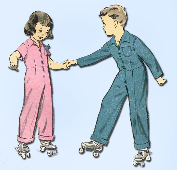 1950s Vintage Advance Sewing Pattern 7978 Toddler Boy Girl Coveralls Size 6 FF