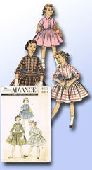 1950s Vintage Advance Sewing Pattern 8023 Little Girls Shirtwaist Dress Size 8