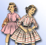 1950s Vintage Advance Sewing Pattern 8023 Uncut Girl's Shirtwaist Dress Size 14