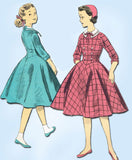 1950s Vintage Advance Sewing Pattern 8035 Uncut Girls Long Waisted Dress Sz 10