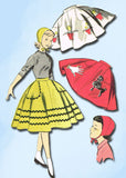 1950s Vintage Little Girls Skirt & Hat 1956 Advance Sewing Pattern 8076 Size 8