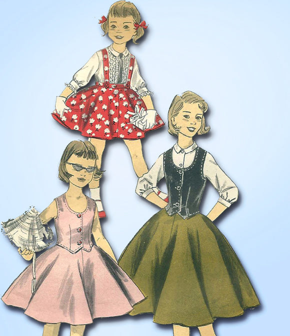 1950s Vintage Advance Sewing Pattern 8101 Cute Little Girls 3 Piece Suit Size 10 -Vintage4me2