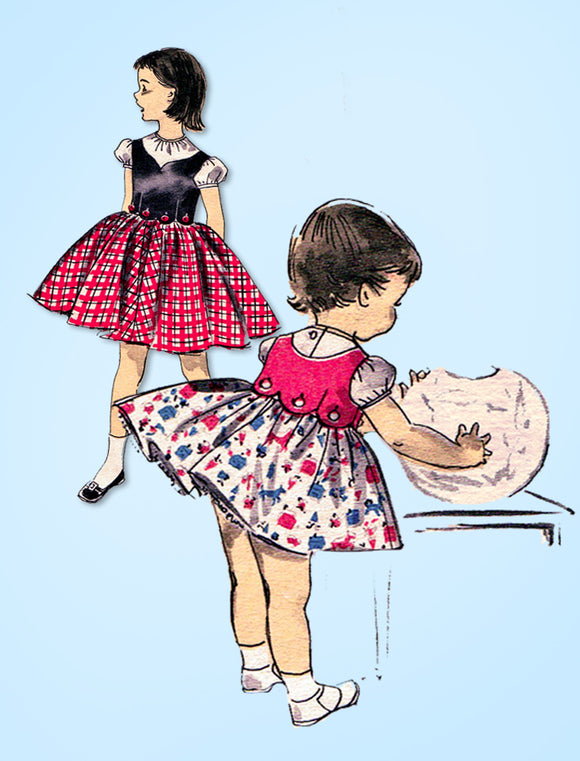 1950s Vintage Advance Sewing Pattern 8153 Toddler Girls Tyrolean Skirt & Top Sz6