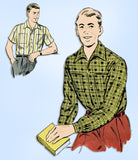 1950s Original Vintage Advance Sewing Pattern 8167 Classic Men's Shirt Size MED - Vintage4me2