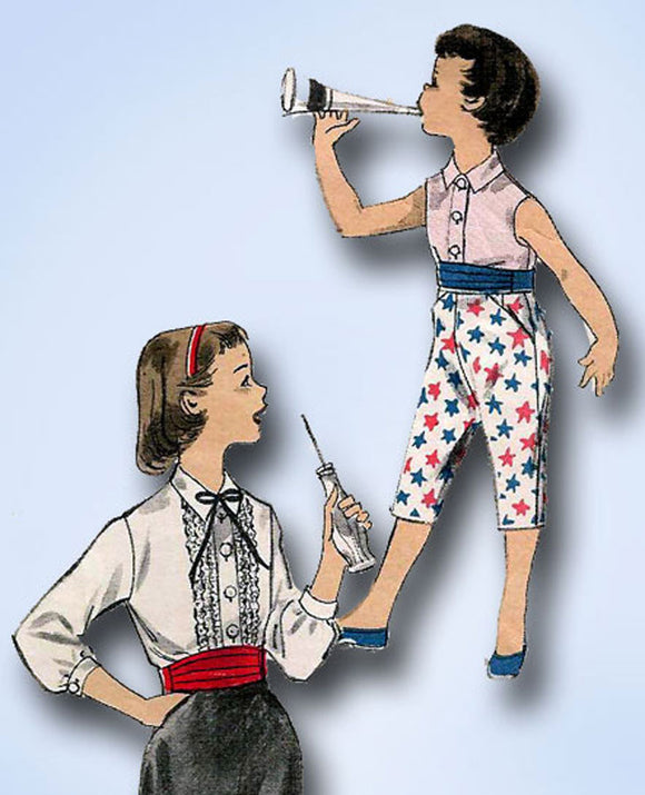1950s Vintage Advance Sewing Pattern 8189 Toddler Girls Blouse & Pants Size 6