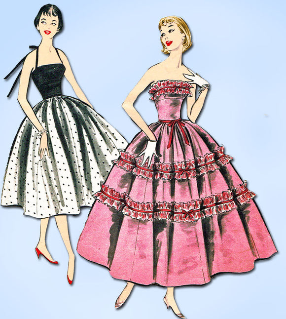 1950s Vintage Advance Sewing Pattern 8198 Junior Misses Prom Dress Size 9 30.5B