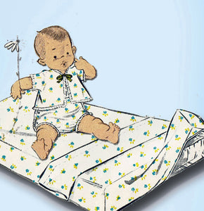 1950s Vintage Advance Sewing Pattern 8218 Infant Layette Set w Fitted Crib Sheet - Vintage4me2