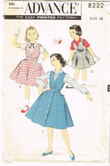 1950s Vintage Advance Sewing Pattern 8222 Little Girls Jumper Dress & Blouse 12