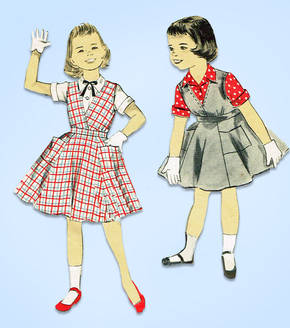 1950s Vintage Advance Sewing Pattern 8222 Little Girls Jumper Dress & Blouse 12 - Vintage4me2