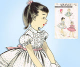 1950s Vintage Advance Sewing Pattern 8277 Baby Girls Tucked Party Dress Sz 1 - Vintage4me2