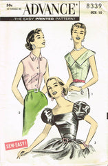 1950s Vintage Advance Sewing Pattern 8339 Easy Uncut Misses Blouse Set Size 31B