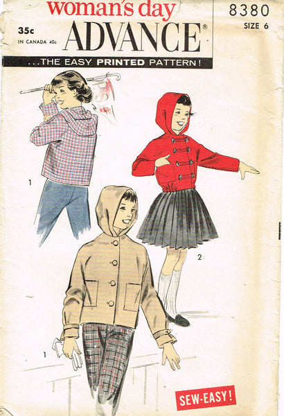 1950s Vintage Advance Sewing Pattern 8380 Uncut Toddler Girls Hoodie Jacket Sz 6