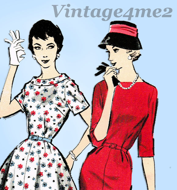 Advance 8435: 1950s Uncut Plus Size Day Dress Sz 40 Bust Vintage Sewing Pattern - Vintage4me2