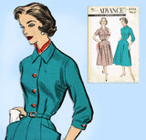Advance 8436: 1950s Uncut Plus Size Shirtwaist Dress 40B Vintage Sewing Pattern - Vintage4me2