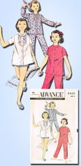 1950s Vintage Advance Sewing Pattern 8460 Toddler Girls 2 PC Pajamas Size 6 24B