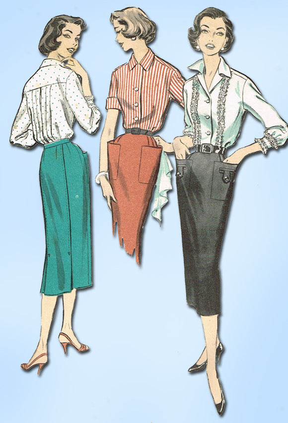 1950s Vintage Advance Sewing Pattern 8473 Uncut Misses Skirt & Blouse Sz 12 30B - Vintage4me2