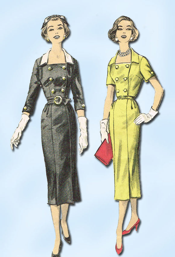 1950s Vintage Advance Sewing Pattern 8477 Misses Slender Coat Dress Sz 16 34B