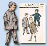 1950s Vintage Advance Sewing Pattern 8499 Baby Boys Coat Pants and Hat Size 1
