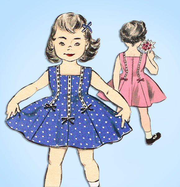 1950s Vintage Advance Sewing Pattern 8627 Cute Toddler Girls Sun Dress Size 2 - Vintage4me2