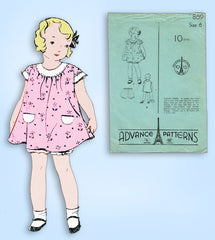 1930s Original Vintage Advance Sewing Pattern 869 Toddler Girls Bloomer Dress 6