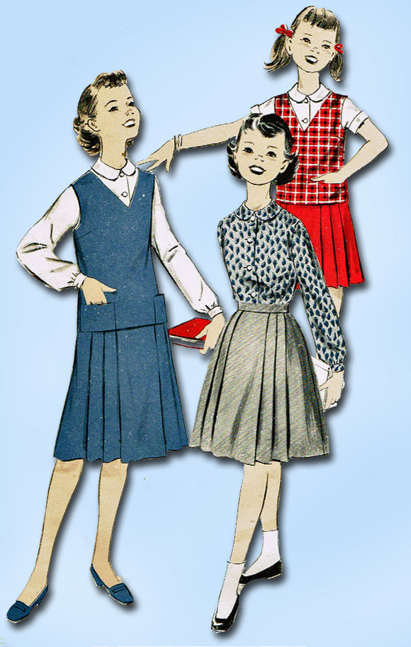 1950s Vintage Advance Sewing Pattern 8719 Easy Uncut Little Girls Suit Size 10