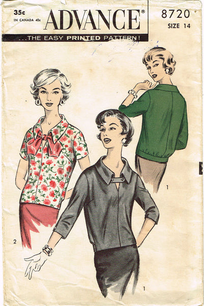 1950s Vintage Advance Sewing Pattern 8720 Misses Blouson Over Blouse Sz 14 34B