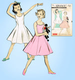 1950s Vintage Advance Sewing Pattern 8845 Sew Easy Girls Princess Slip Size 12