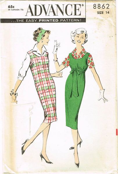 1950s Vintage Advance Sewing Pattern 8862 Uncut Misses Chemise Jumper Dress 34 B