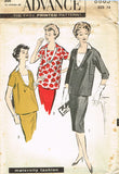 1950s Misses Advance Sewing Pattern 8883 Misses Maternity Top & Skirt Sz 34 Bust