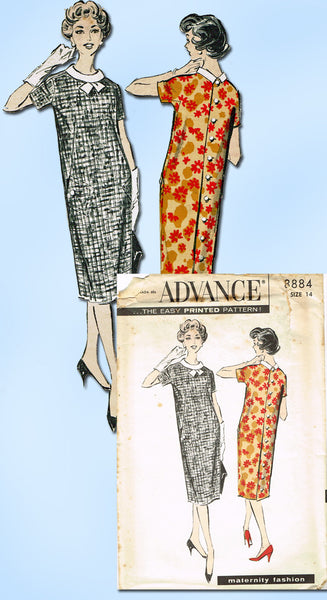 1950s Vintage Advance Sewing Pattern 8884 Uncut MIsses Maternity Dress Sz 14 34B
