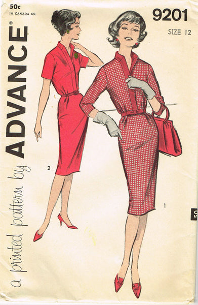 1950s Vintage Advance Sewing Pattern 9201 Uncut Misses Slender Dress Size 12 30B