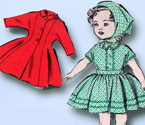 1950s Vintage Advance Sewing Pattern 9211 Cute 17 Inch Little Girl Doll Clothes